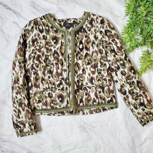 J. Crew Quilted Lady Jacket Autumn Cheetah Print